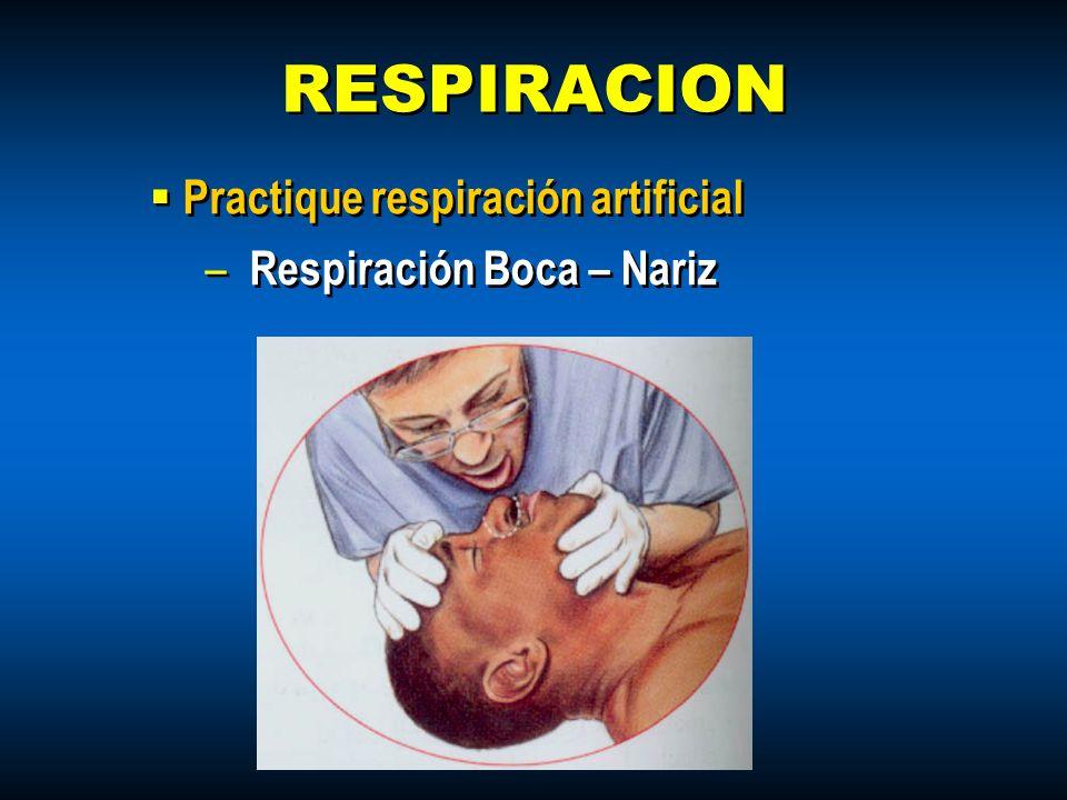 RESPIRACION Practique respiración artificial Respiración Boca – Nariz