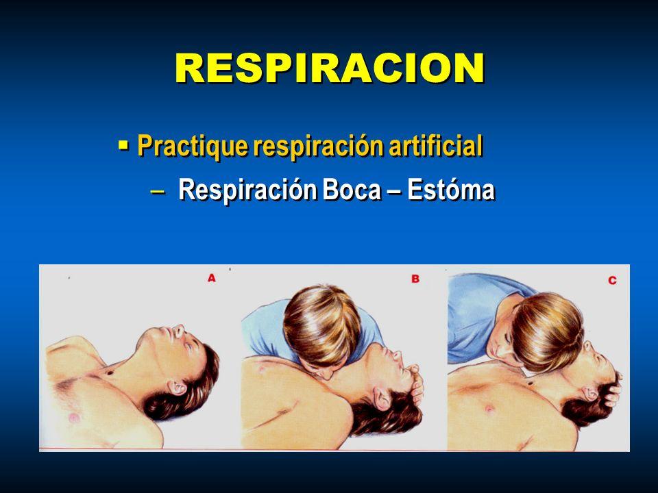 RESPIRACION Practique respiración artificial Respiración Boca – Estóma