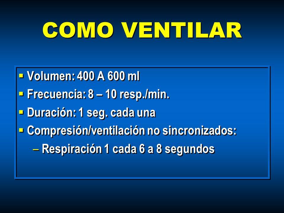 COMO VENTILAR Volumen: 400 A 600 ml Frecuencia: 8 – 10 resp./min.