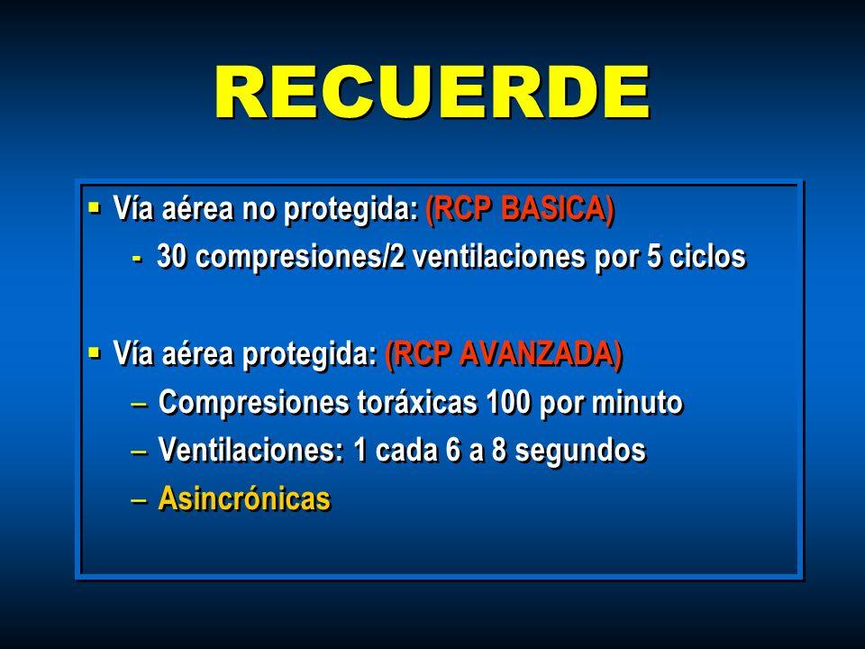 RECUERDE Vía aérea no protegida: (RCP BASICA)