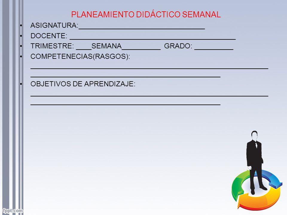 PLANEAMIENTO DIDÁCTICO SEMANAL