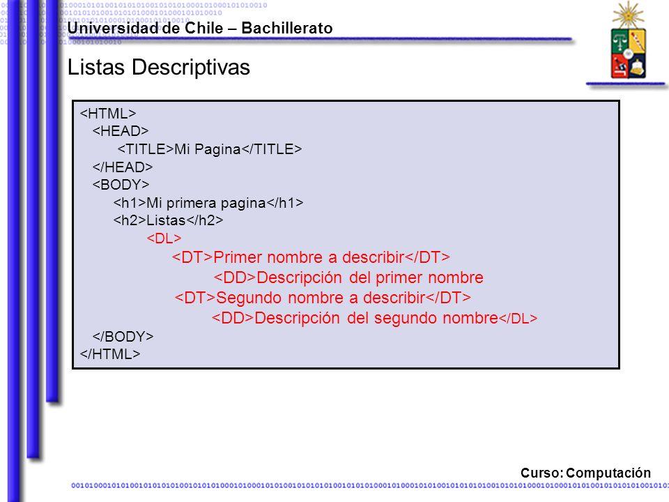 Listas Descriptivas <DD>Descripción del primer nombre