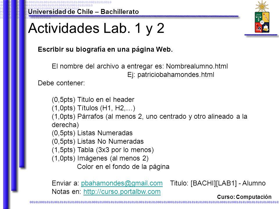 Actividades Lab. 1 y 2 Escribir su biografía en una página Web.