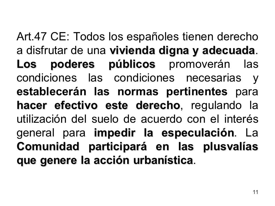 Art.47 CE: Todos los españoles tienen derecho a disfrutar de una vivienda digna y adecuada.