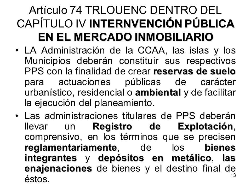 Artículo 74 TRLOUENC DENTRO DEL CAPÍTULO IV INTERNVENCIÓN PÚBLICA EN EL MERCADO INMOBILIARIO