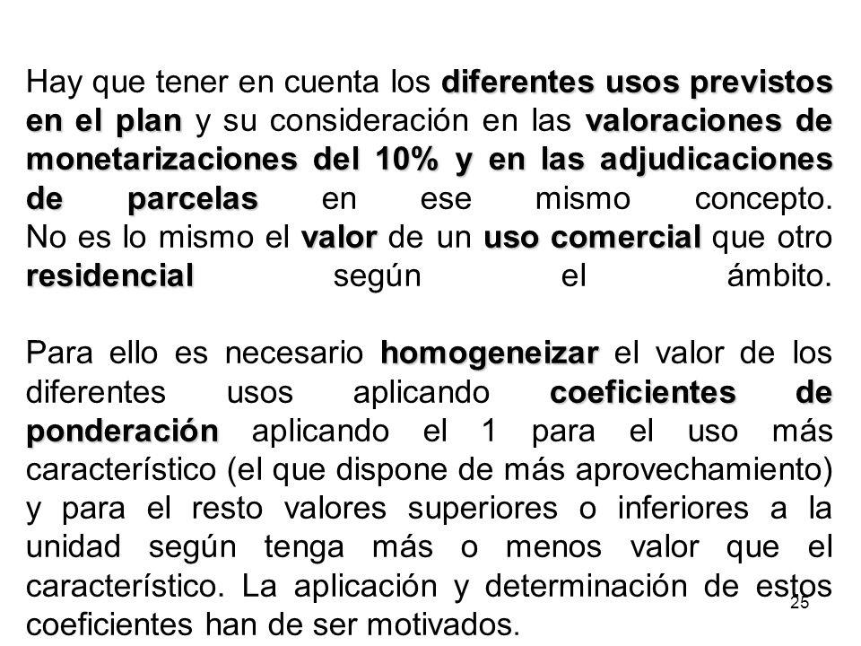 Hay que tener en cuenta los diferentes usos previstos en el plan y su consideración en las valoraciones de monetarizaciones del 10% y en las adjudicaciones de parcelas en ese mismo concepto.