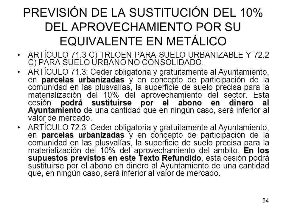 PREVISIÓN DE LA SUSTITUCIÓN DEL 10% DEL APROVECHAMIENTO POR SU EQUIVALENTE EN METÁLICO