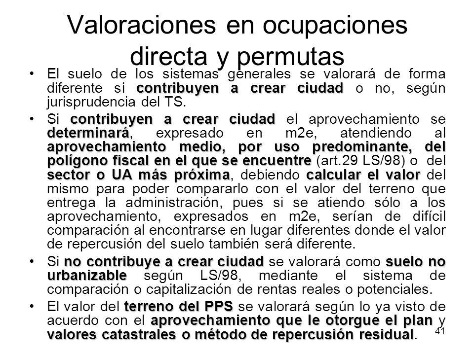 Valoraciones en ocupaciones directa y permutas