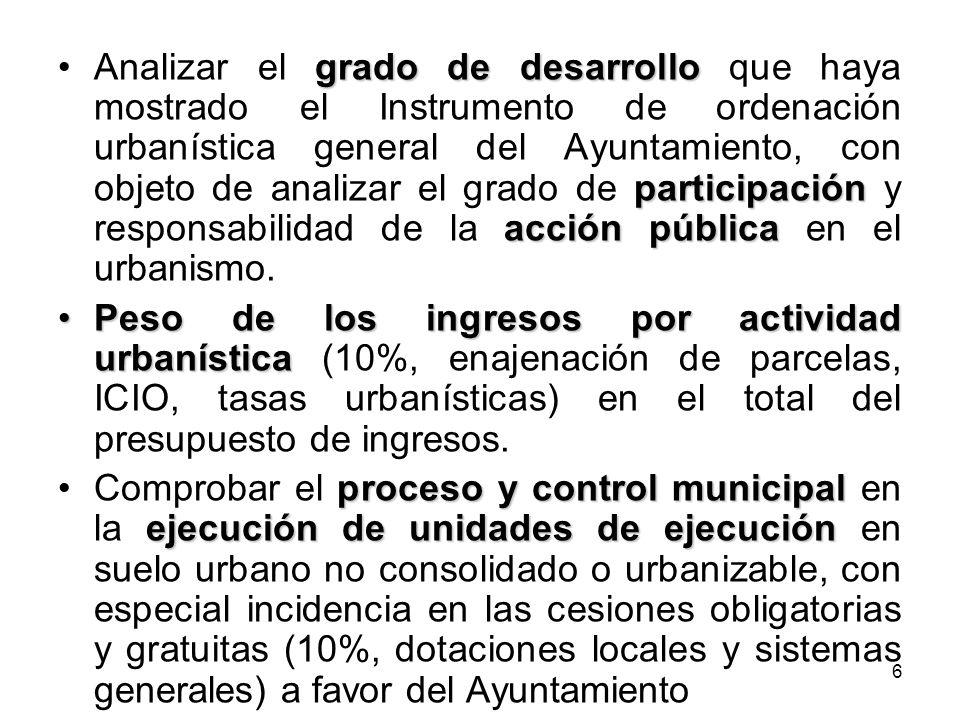 Analizar el grado de desarrollo que haya mostrado el Instrumento de ordenación urbanística general del Ayuntamiento, con objeto de analizar el grado de participación y responsabilidad de la acción pública en el urbanismo.