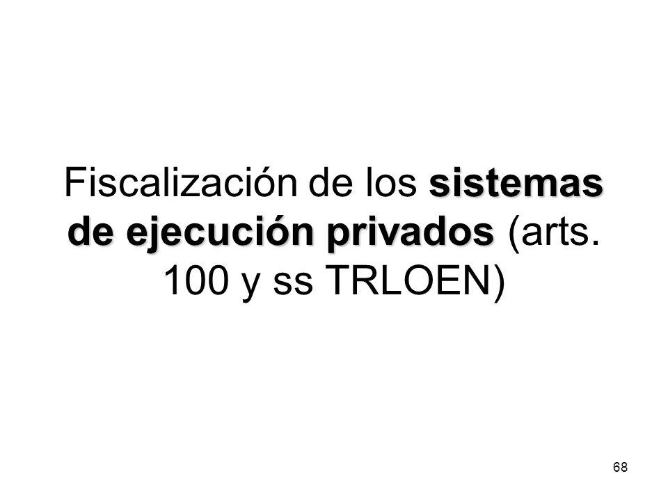 Fiscalización de los sistemas de ejecución privados (arts