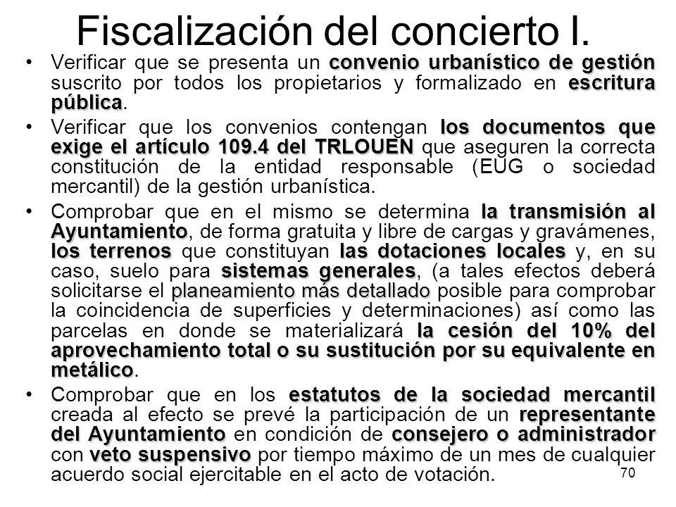 Fiscalización del concierto I.