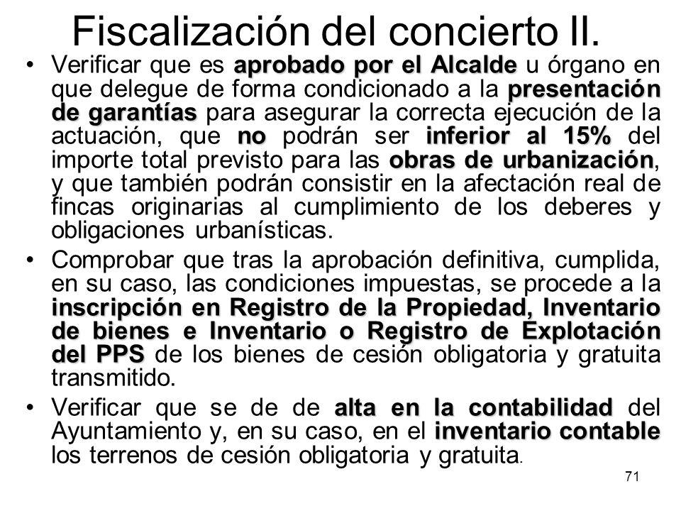 Fiscalización del concierto II.