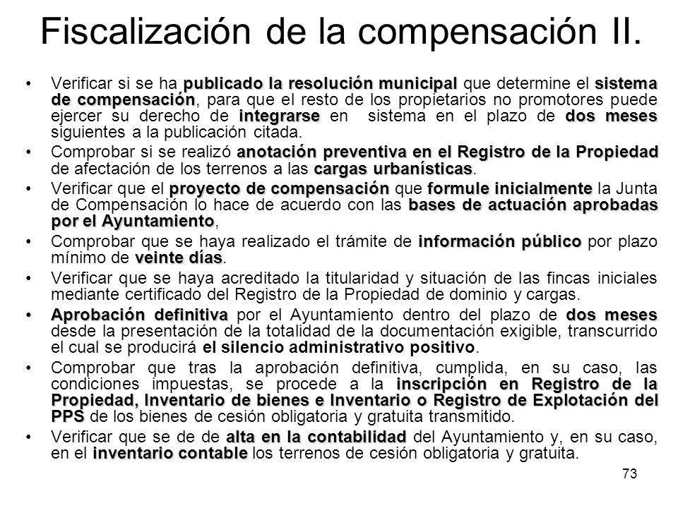 Fiscalización de la compensación II.