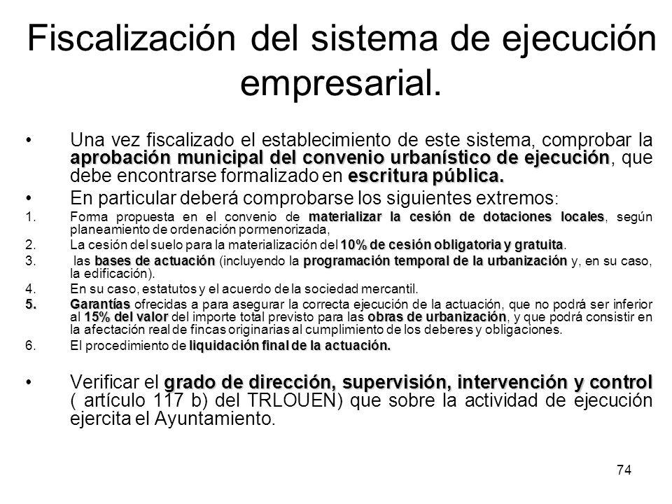 Fiscalización del sistema de ejecución empresarial.