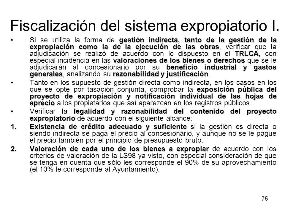 Fiscalización del sistema expropiatorio I.