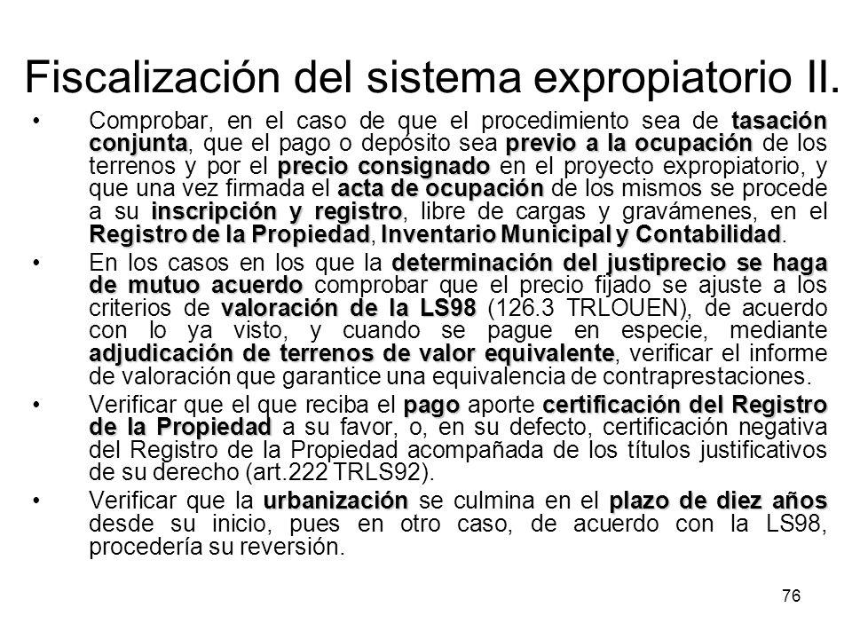 Fiscalización del sistema expropiatorio II.