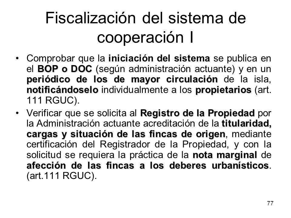 Fiscalización del sistema de cooperación I