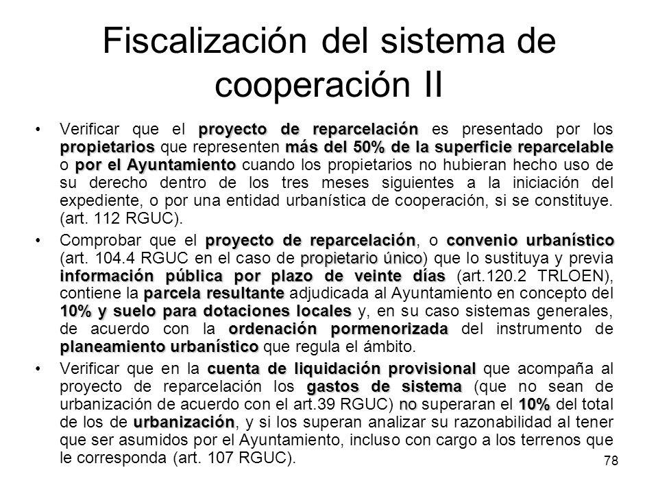 Fiscalización del sistema de cooperación II
