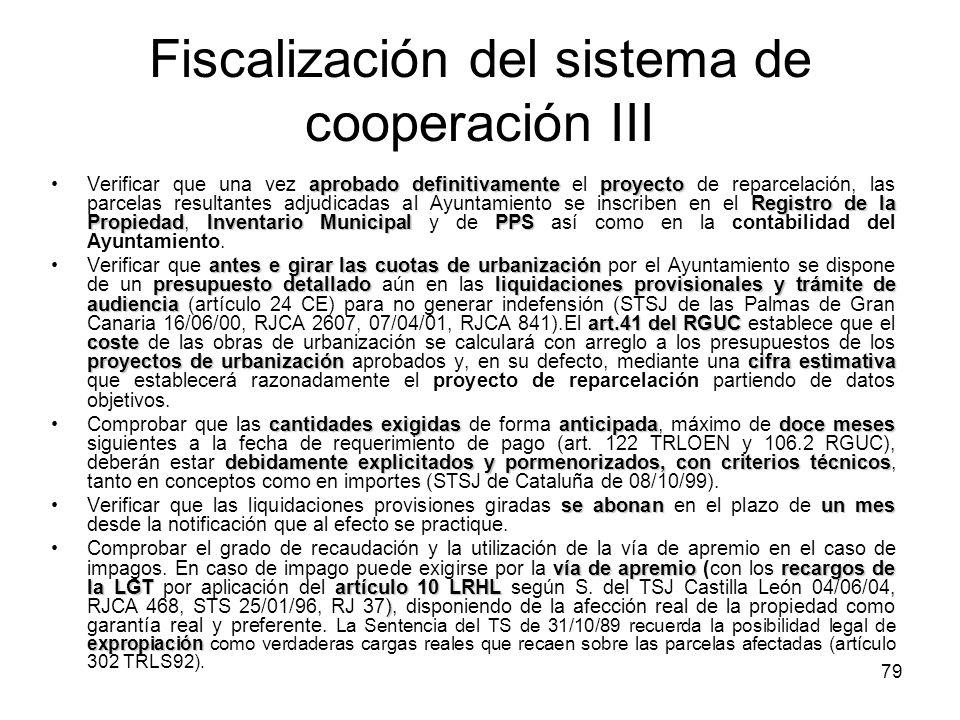Fiscalización del sistema de cooperación III