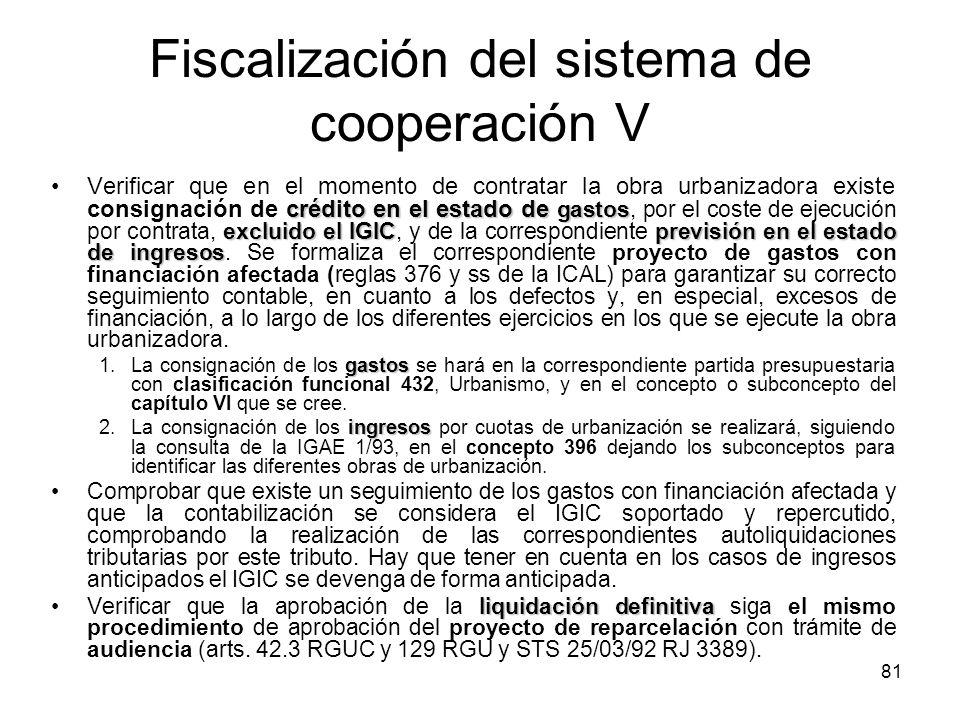 Fiscalización del sistema de cooperación V