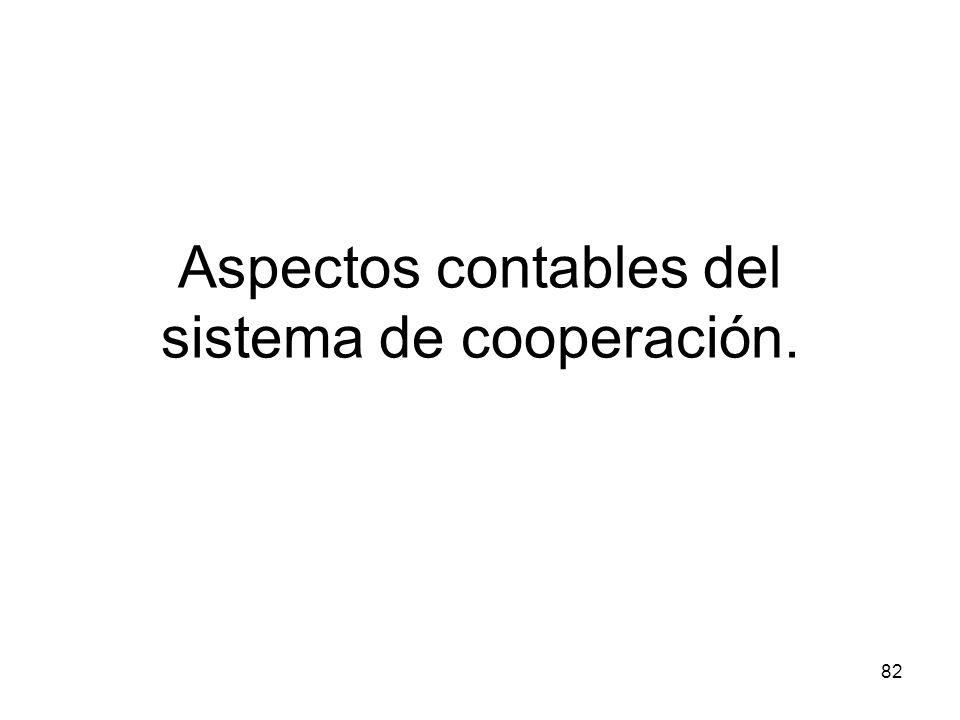 Aspectos contables del sistema de cooperación.