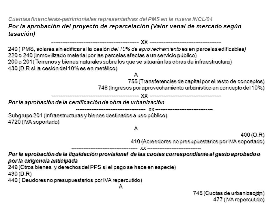 Cuentas financieras-patrimoniales representativas del PMS en la nueva INCL/04