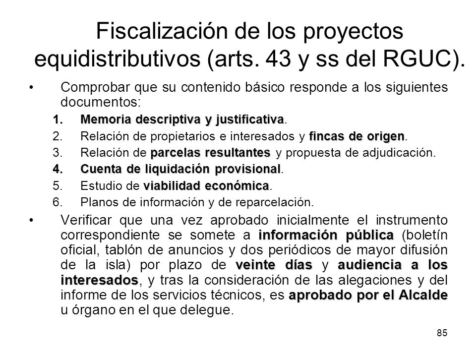 Fiscalización de los proyectos equidistributivos (arts