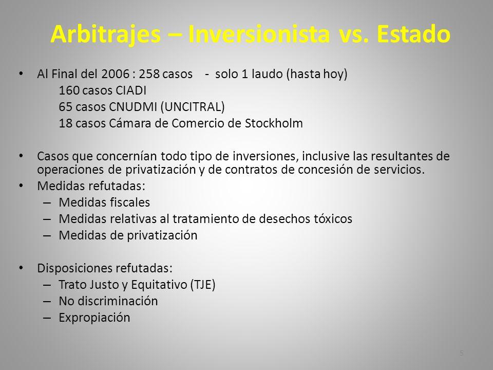 Arbitrajes – Inversionista vs. Estado