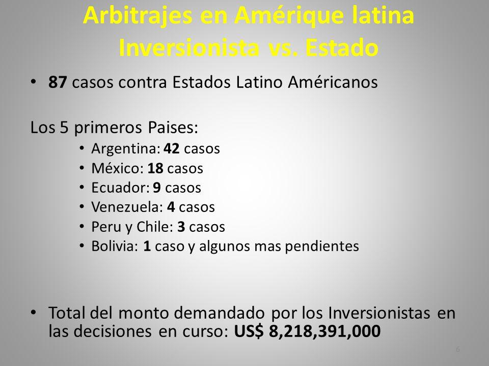 Arbitrajes en Amérique latina Inversionista vs. Estado