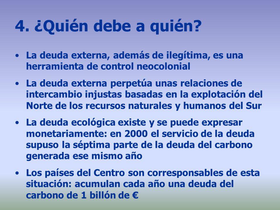 4. ¿Quién debe a quién La deuda externa, además de ilegítima, es una herramienta de control neocolonial.