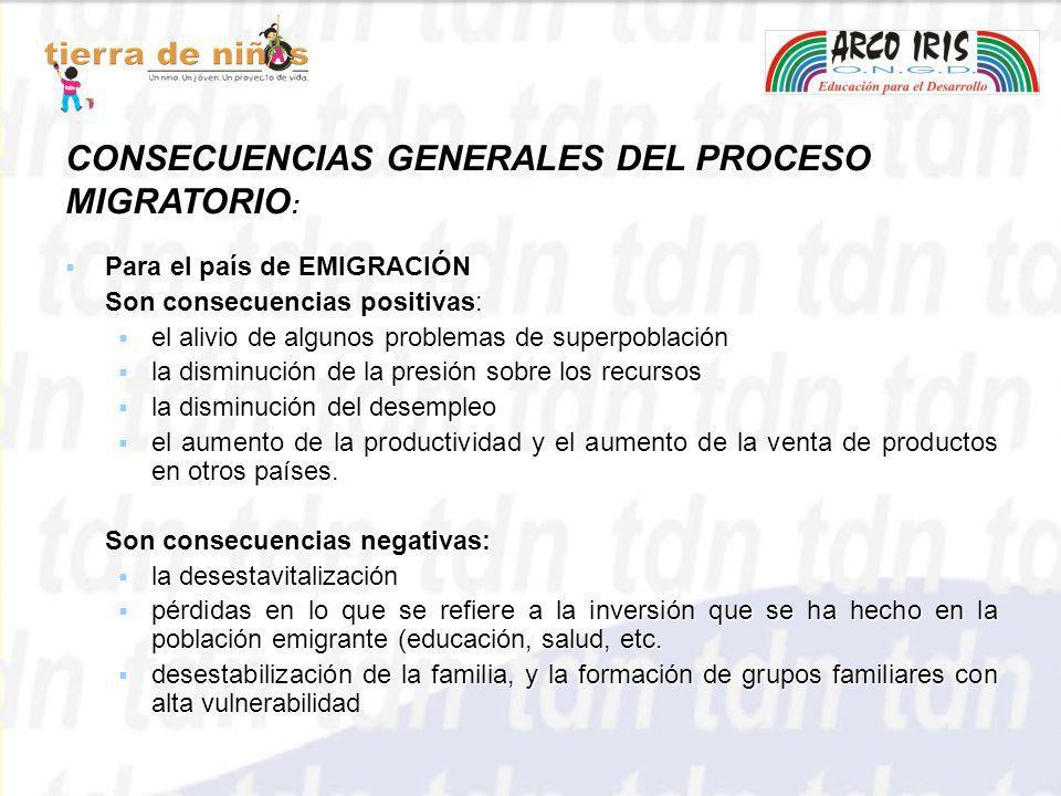 CONSECUENCIAS GENERALES DEL PROCESO MIGRATORIO: