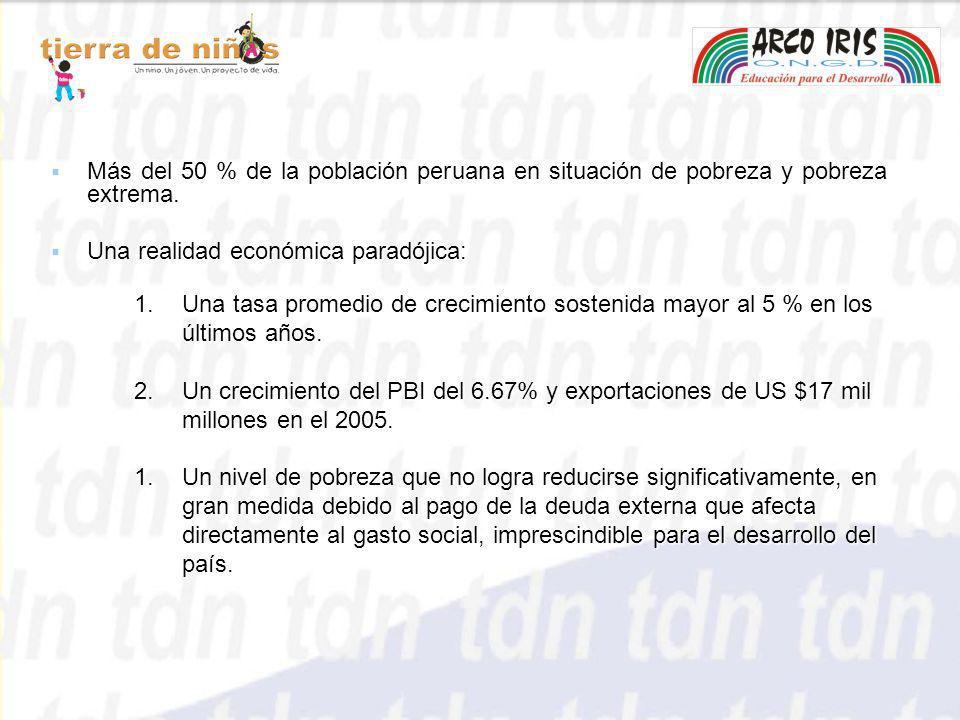 Más del 50 % de la población peruana en situación de pobreza y pobreza extrema.