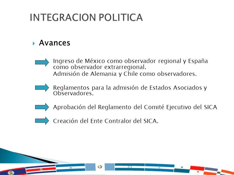 INTEGRACION POLITICA Avances