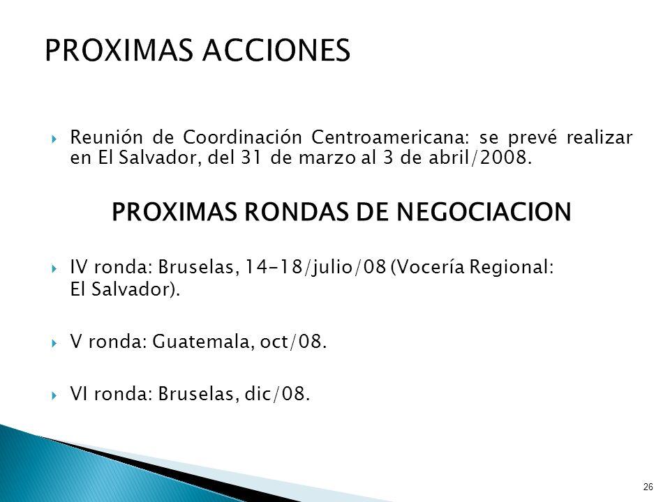 PROXIMAS RONDAS DE NEGOCIACION
