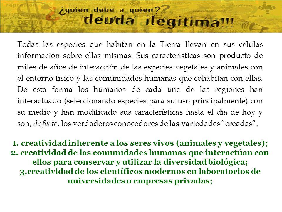 1. creatividad inherente a los seres vivos (animales y vegetales);