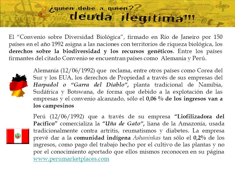 El Convenio sobre Diversidad Biológica , firmado en Río de Janeiro por 150 países en el año 1992 asigna a las naciones con territorios de riqueza biológica, los derechos sobre la biodiversidad y los recursos genéticos. Entre los países firmantes del citado Convenio se encuentran países como Alemania y Perú.