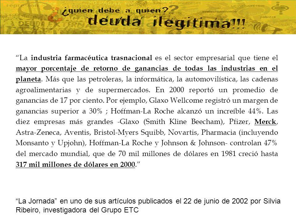 La industria farmacéutica trasnacional es el sector empresarial que tiene el mayor porcentaje de retorno de ganancias de todas las industrias en el planeta. Más que las petroleras, la informática, la automovilística, las cadenas agroalimentarias y de supermercados. En 2000 reportó un promedio de ganancias de 17 por ciento. Por ejemplo, Glaxo Wellcome registró un margen de ganancias superior a 30% ; Hoffman-La Roche alcanzó un increíble 44%. Las diez empresas más grandes -Glaxo (Smith Kline Beecham), Pfizer, Merck, Astra-Zeneca, Aventis, Bristol-Myers Squibb, Novartis, Pharmacia (incluyendo Monsanto y Upjohn), Hoffman-La Roche y Johnson & Johnson- controlan 47% del mercado mundial, que de 70 mil millones de dólares en 1981 creció hasta 317 mil millones de dólares en 2000.