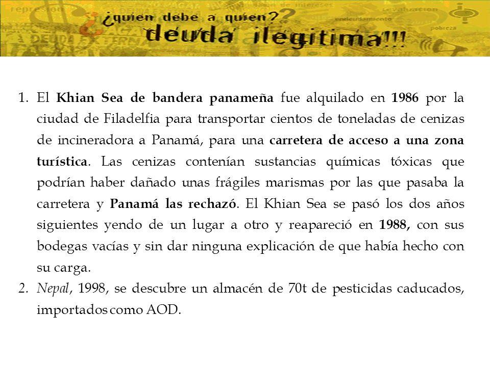 El Khian Sea de bandera panameña fue alquilado en 1986 por la ciudad de Filadelfia para transportar cientos de toneladas de cenizas de incineradora a Panamá, para una carretera de acceso a una zona turística. Las cenizas contenían sustancias químicas tóxicas que podrían haber dañado unas frágiles marismas por las que pasaba la carretera y Panamá las rechazó. El Khian Sea se pasó los dos años siguientes yendo de un lugar a otro y reapareció en 1988, con sus bodegas vacías y sin dar ninguna explicación de que había hecho con su carga.