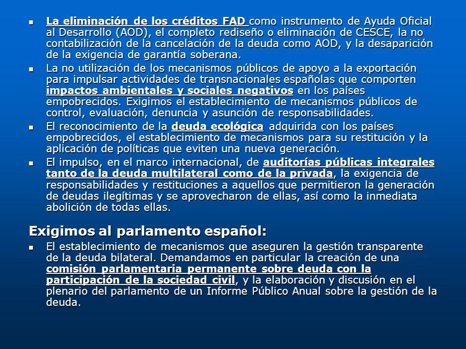 Exigimos al parlamento español: