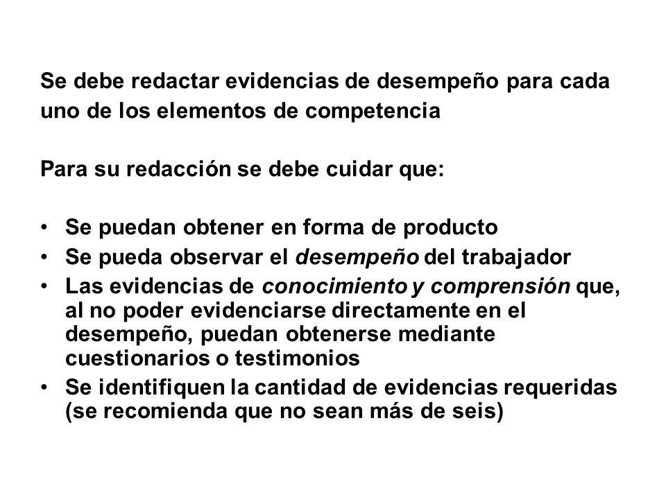 Se debe redactar evidencias de desempeño para cada