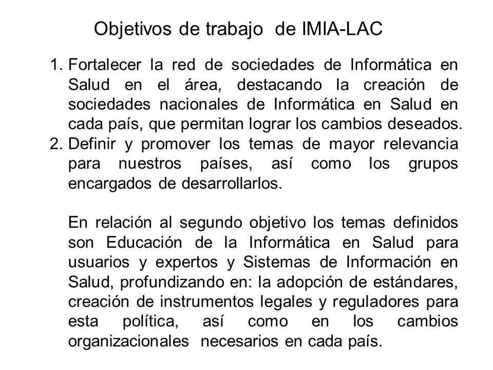 Objetivos de trabajo de IMIA-LAC