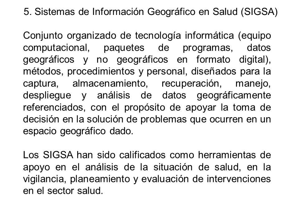 5. Sistemas de Información Geográfico en Salud (SIGSA)