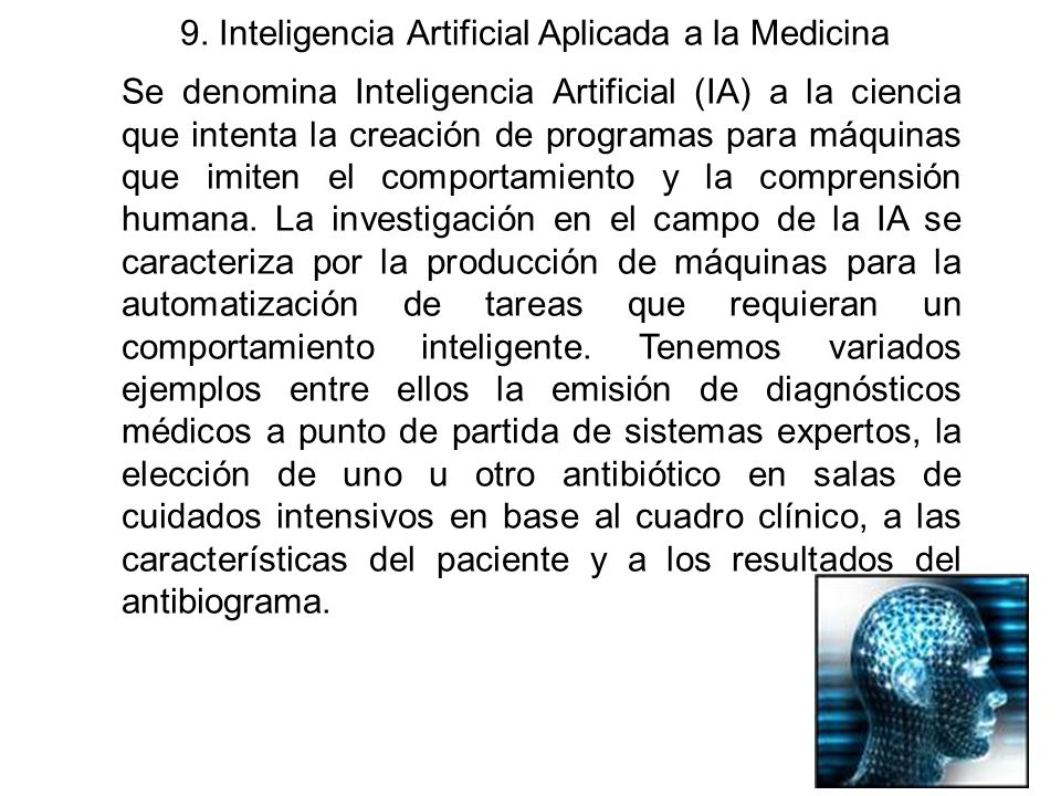 9. Inteligencia Artificial Aplicada a la Medicina