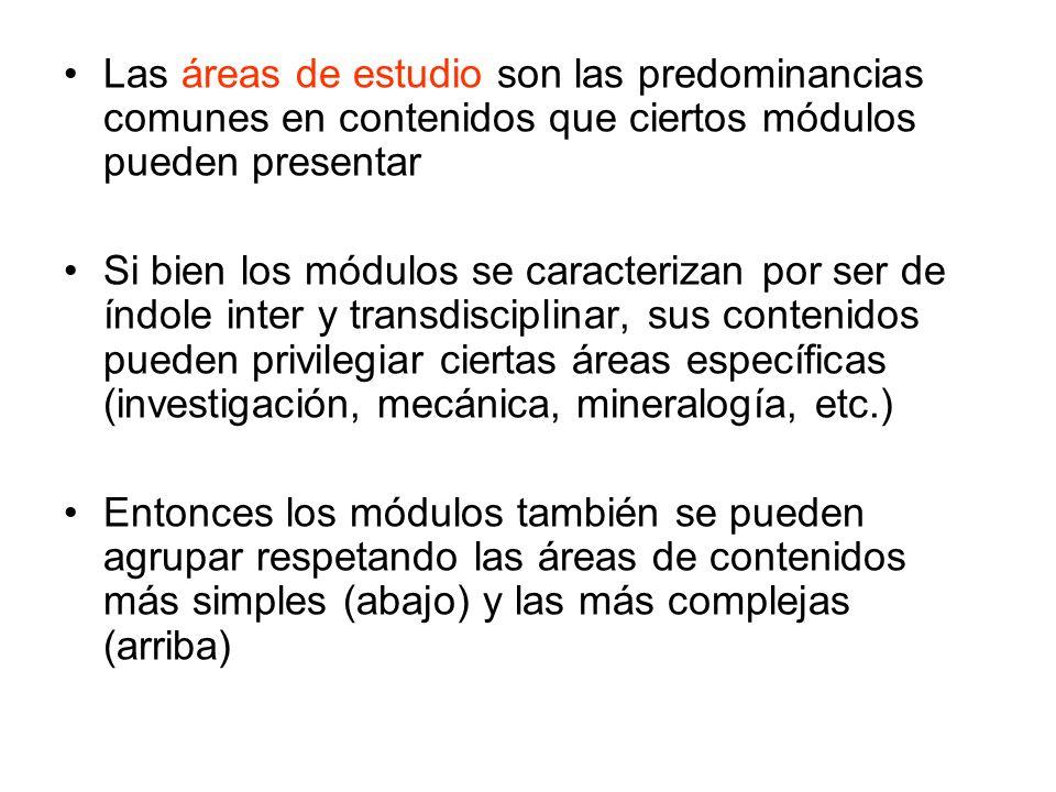 Las áreas de estudio son las predominancias comunes en contenidos que ciertos módulos pueden presentar