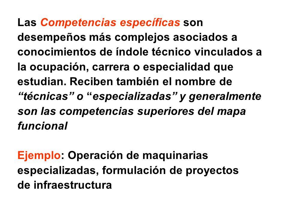 Las Competencias específicas son