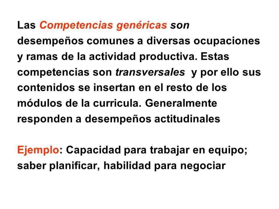 Las Competencias genéricas son