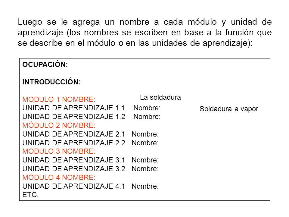 Luego se le agrega un nombre a cada módulo y unidad de aprendizaje (los nombres se escriben en base a la función que se describe en el módulo o en las unidades de aprendizaje):