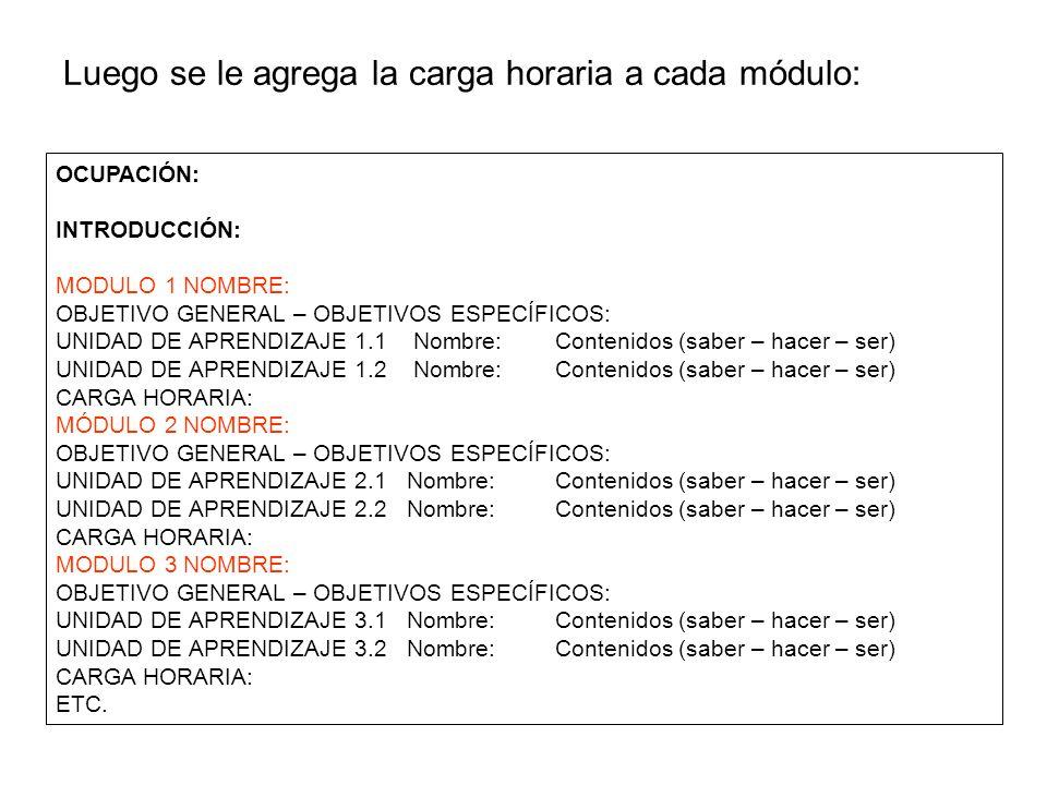 Luego se le agrega la carga horaria a cada módulo:
