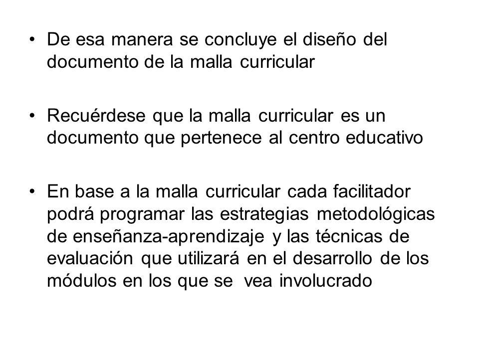 De esa manera se concluye el diseño del documento de la malla curricular