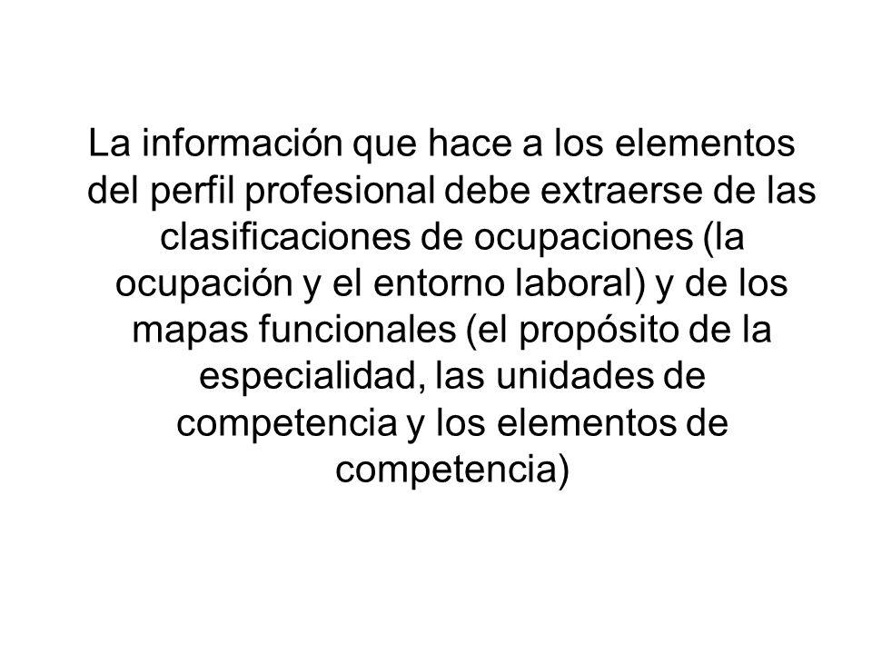 La información que hace a los elementos del perfil profesional debe extraerse de las clasificaciones de ocupaciones (la ocupación y el entorno laboral) y de los mapas funcionales (el propósito de la especialidad, las unidades de competencia y los elementos de competencia)